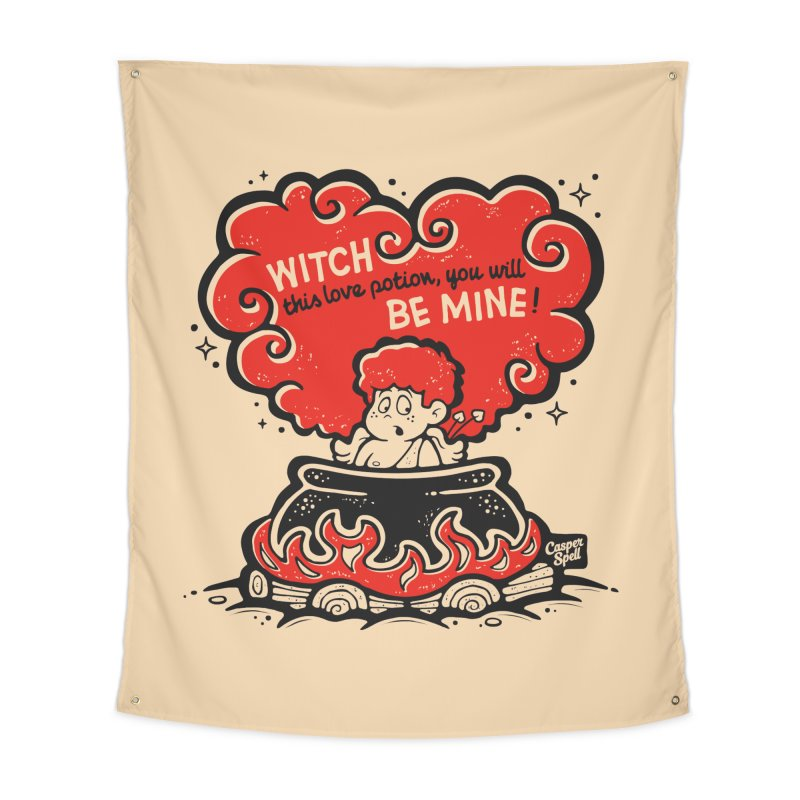 Cupid in Cauldron by Casper Spell Home Tapestry by Casper Spell's Shop
