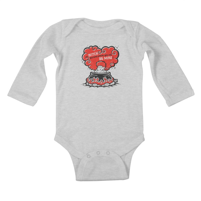 Cupid in Cauldron by Casper Spell Kids Baby Longsleeve Bodysuit by Casper Spell's Shop