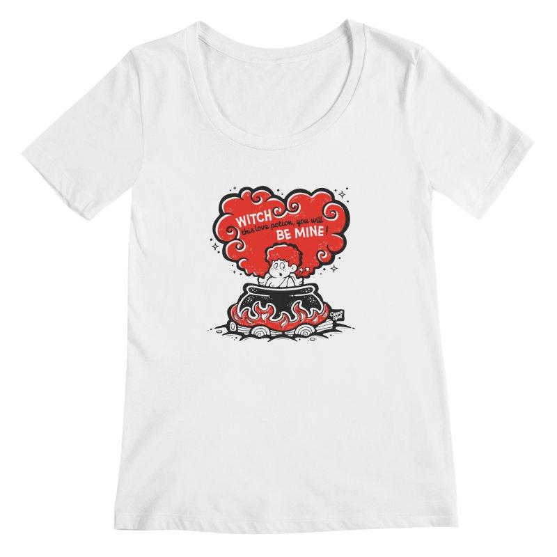 Cupid in Cauldron by Casper Spell Women's Scoopneck by Casper Spell's Shop