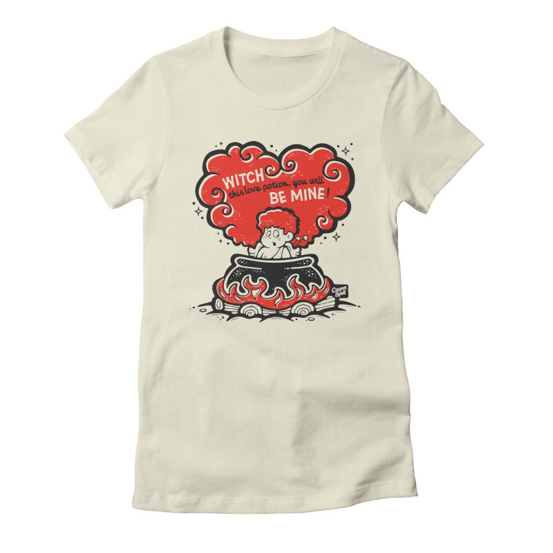 Cupid in Cauldron by Casper Spell Women's Fitted T-Shirt by Casper Spell's Shop