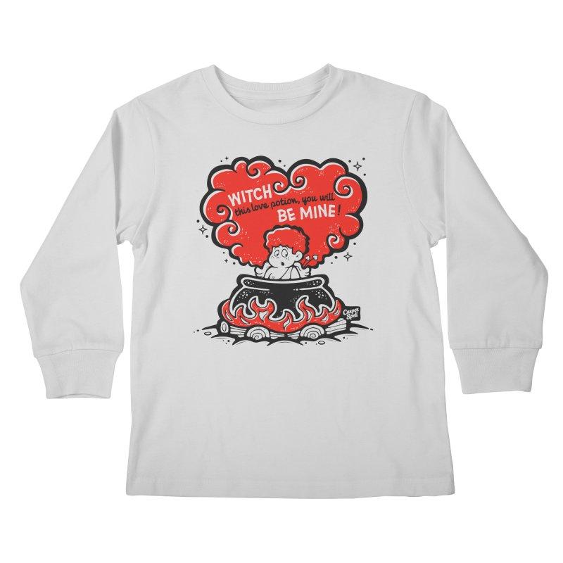 Cupid in Cauldron by Casper Spell Kids Longsleeve T-Shirt by Casper Spell's Shop