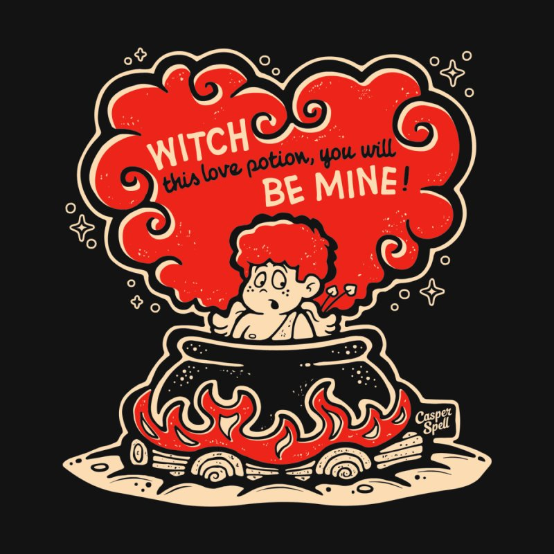Cupid in Cauldron (Black) by Casper Spell Kids T-Shirt by Casper Spell's Shop