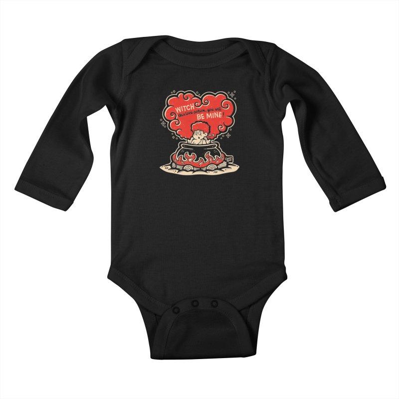 Cupid in Cauldron (Black) by Casper Spell Kids Baby Longsleeve Bodysuit by Casper Spell's Shop