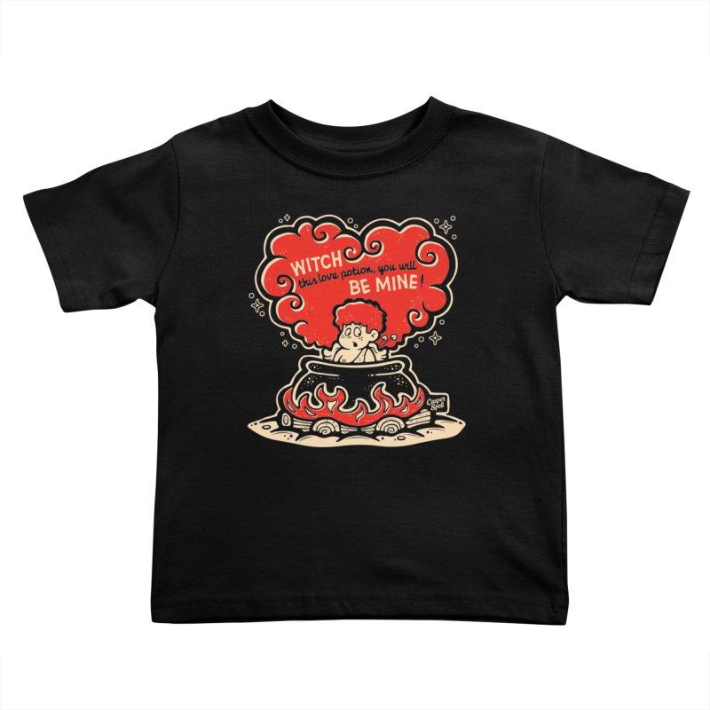 Cupid in Cauldron (Black) by Casper Spell Kids Toddler T-Shirt by Casper Spell's Shop