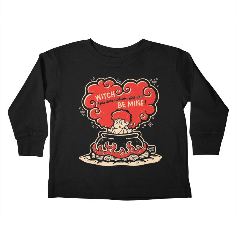 Cupid in Cauldron (Black) by Casper Spell Kids Toddler Longsleeve T-Shirt by Casper Spell's Shop