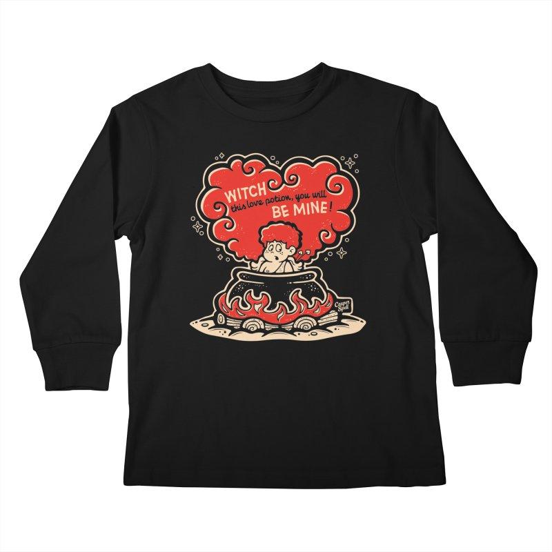 Cupid in Cauldron (Black) by Casper Spell Kids Longsleeve T-Shirt by Casper Spell's Shop