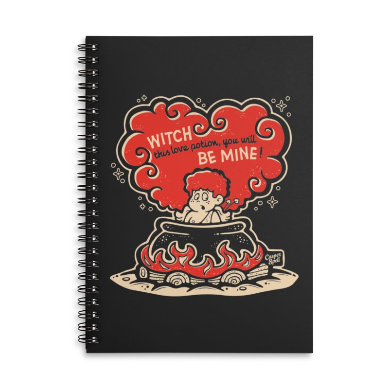 Cupid in Cauldron (Black) by Casper Spell Accessories Lined Spiral Notebook by Casper Spell's Shop
