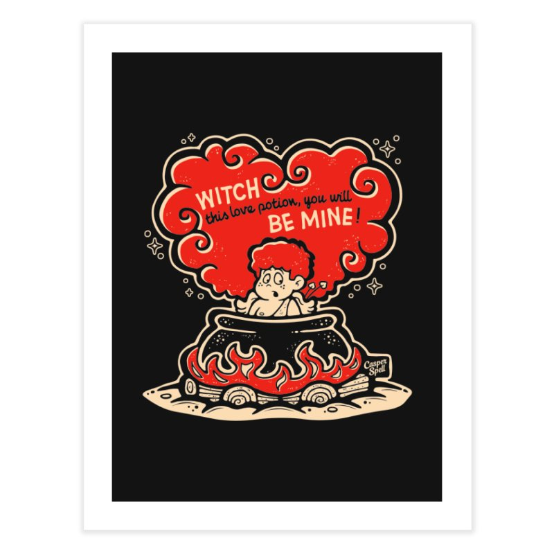 Cupid in Cauldron (Black) by Casper Spell Home Fine Art Print by Casper Spell's Shop
