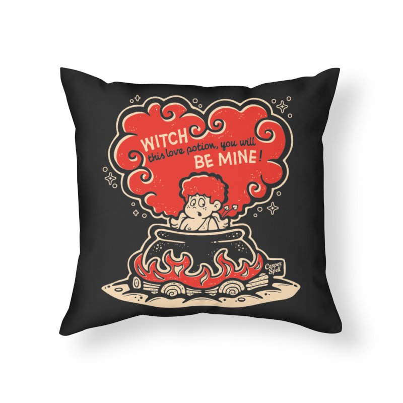 Cupid in Cauldron (Black) by Casper Spell Home Throw Pillow by Casper Spell's Shop