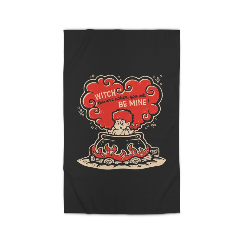 Cupid in Cauldron (Black) by Casper Spell Home Rug by Casper Spell's Shop