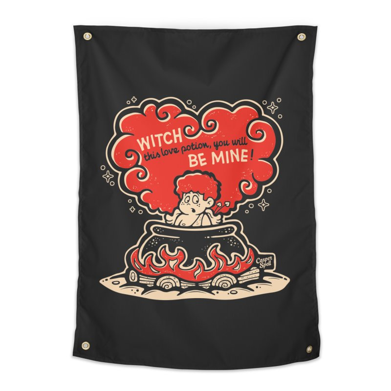 Cupid in Cauldron (Black) by Casper Spell Home Tapestry by Casper Spell's Shop