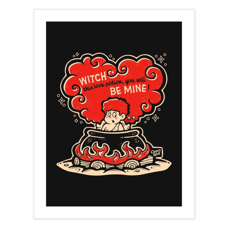 Cupid in Cauldron (Black) by Casper Spell Home Fine Art Print by Casper Spell's Shop