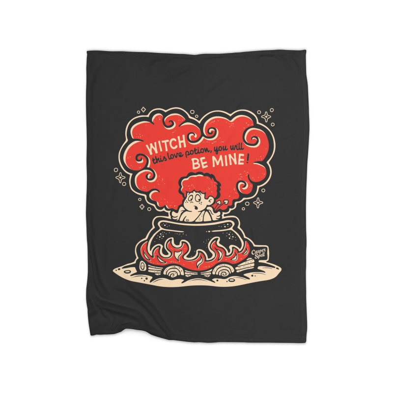 Cupid in Cauldron (Black) by Casper Spell Home Blanket by Casper Spell's Shop