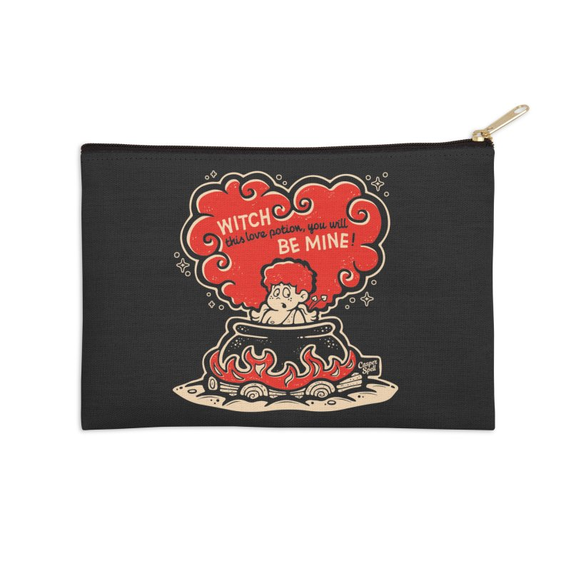 Cupid in Cauldron (Black) by Casper Spell Accessories Zip Pouch by Casper Spell's Shop
