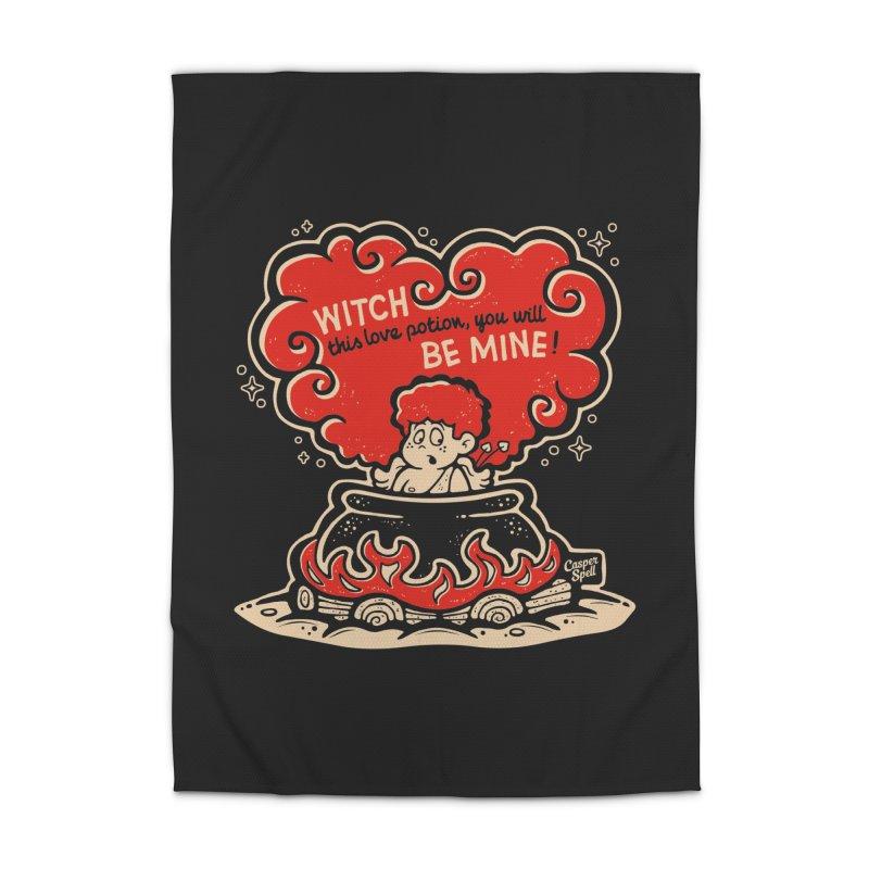 Cupid in Cauldron (Black) by Casper Spell Home Rug by Casper Spell's Shop