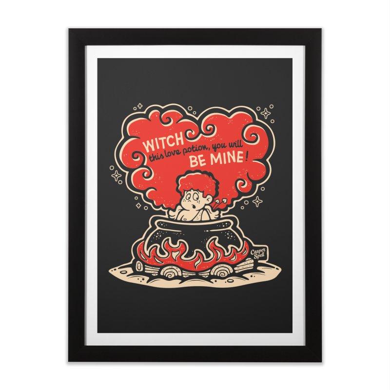 Cupid in Cauldron (Black) by Casper Spell Home Framed Fine Art Print by Casper Spell's Shop