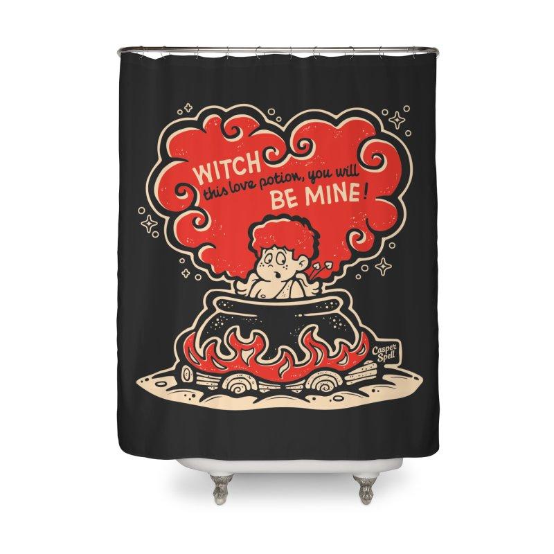 Cupid in Cauldron (Black) by Casper Spell Home Shower Curtain by Casper Spell's Shop