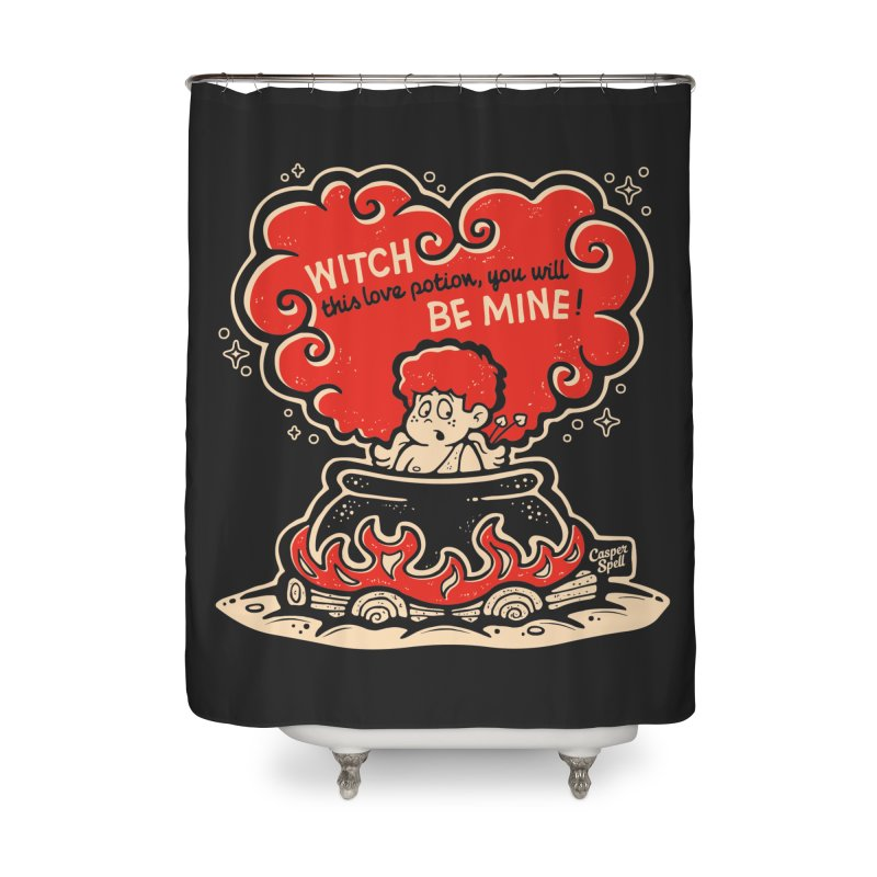 Cupid in Cauldron (Black) by Casper Spell Home Shower Curtain by Casper Spell's Shop