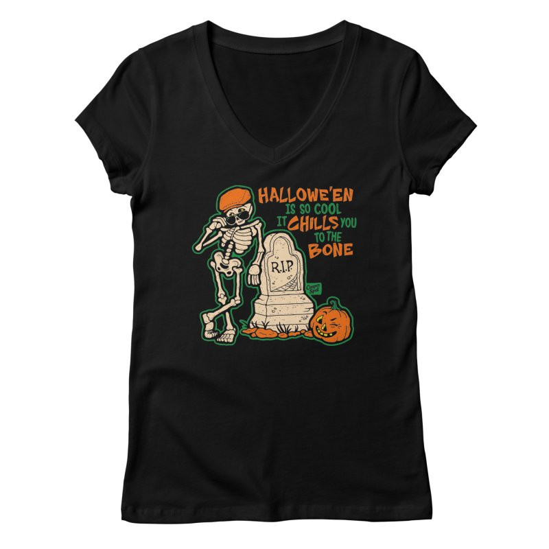 Chills You to the Bone Women's V-Neck by Casper Spell's Shop