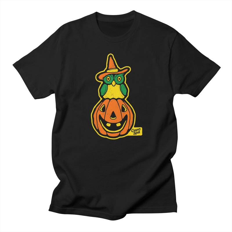 Witch Owl and Jack-O-Lantern Men's T-Shirt by Casper Spell's Shop