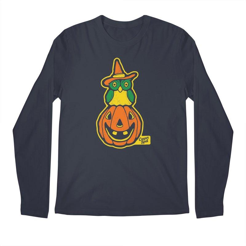 Witch Owl and Jack-O-Lantern Men's Longsleeve T-Shirt by Casper Spell's Shop