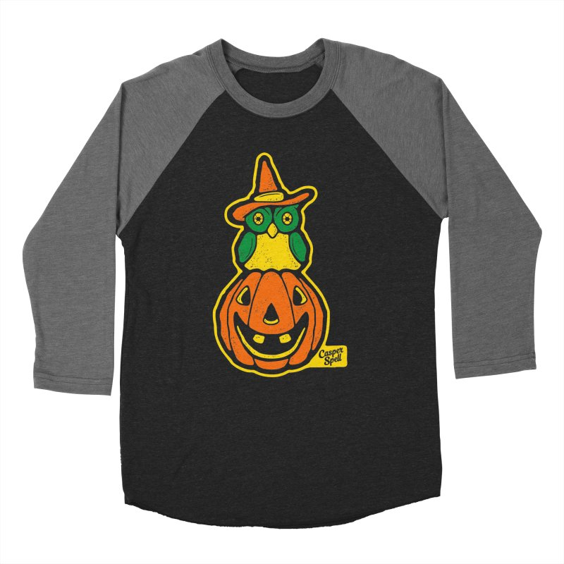 Witch Owl and Jack-O-Lantern Men's Baseball Triblend T-Shirt by Casper Spell's Shop