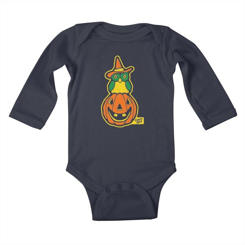 Witch Owl and Jack-O-Lantern Kids Baby Longsleeve Bodysuit by Casper Spell's Shop