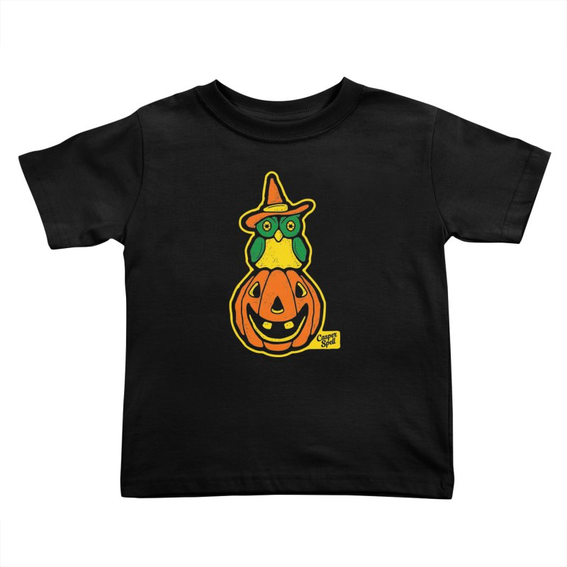Witch Owl and Jack-O-Lantern Kids Toddler T-Shirt by Casper Spell's Shop