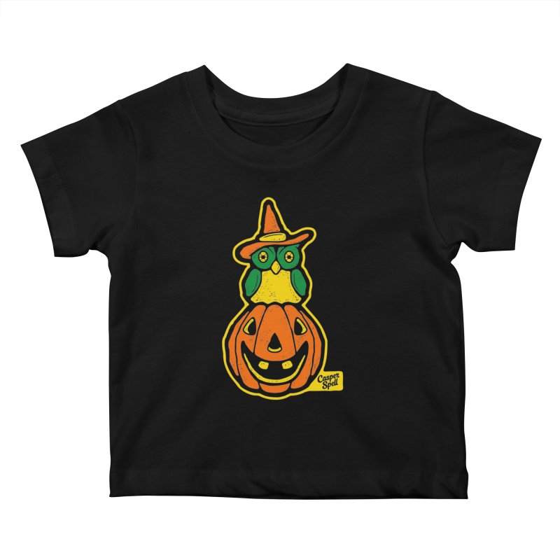 Witch Owl and Jack-O-Lantern Kids Baby T-Shirt by Casper Spell's Shop