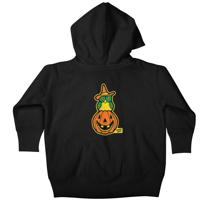 Witch Owl and Jack-O-Lantern Kids Baby Zip-Up Hoody by Casper Spell's Shop