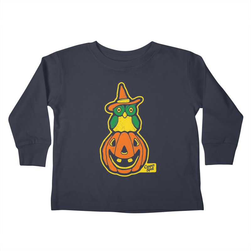 Witch Owl and Jack-O-Lantern Kids Toddler Longsleeve T-Shirt by Casper Spell's Shop