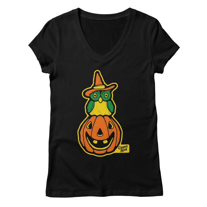 Witch Owl and Jack-O-Lantern Women's V-Neck by Casper Spell's Shop