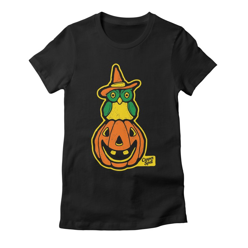 Witch Owl and Jack-O-Lantern in Women's Fitted T-Shirt Black by Casper Spell's Shop