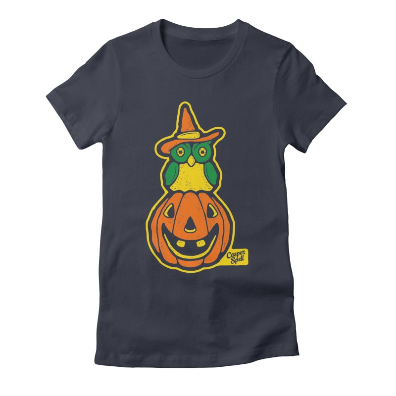 Witch Owl and Jack-O-Lantern Women's Fitted T-Shirt by Casper Spell's Shop