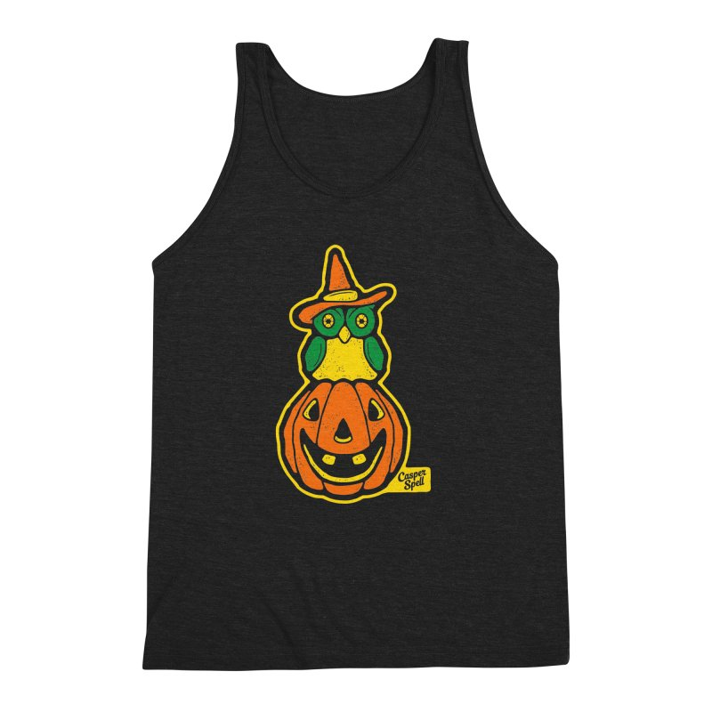 Witch Owl and Jack-O-Lantern Men's Triblend Tank by Casper Spell's Shop