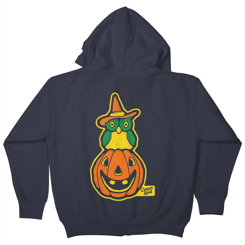 Witch Owl and Jack-O-Lantern Kids Zip-Up Hoody by Casper Spell's Shop