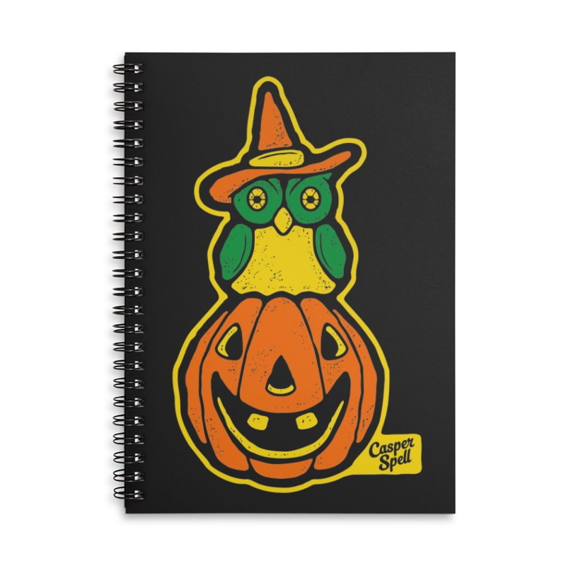 Witch Owl and Jack-O-Lantern Accessories Lined Spiral Notebook by Casper Spell's Shop