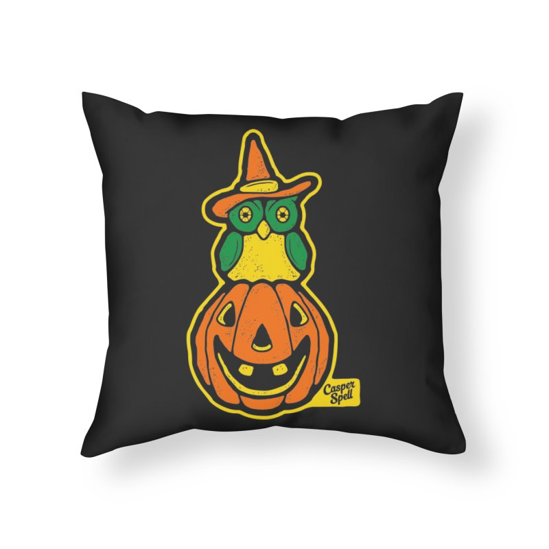 Witch Owl and Jack-O-Lantern Home Throw Pillow by Casper Spell's Shop