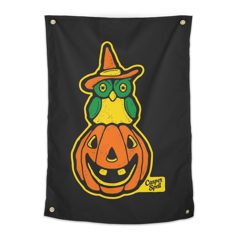 Witch Owl and Jack-O-Lantern Home Tapestry by Casper Spell's Shop