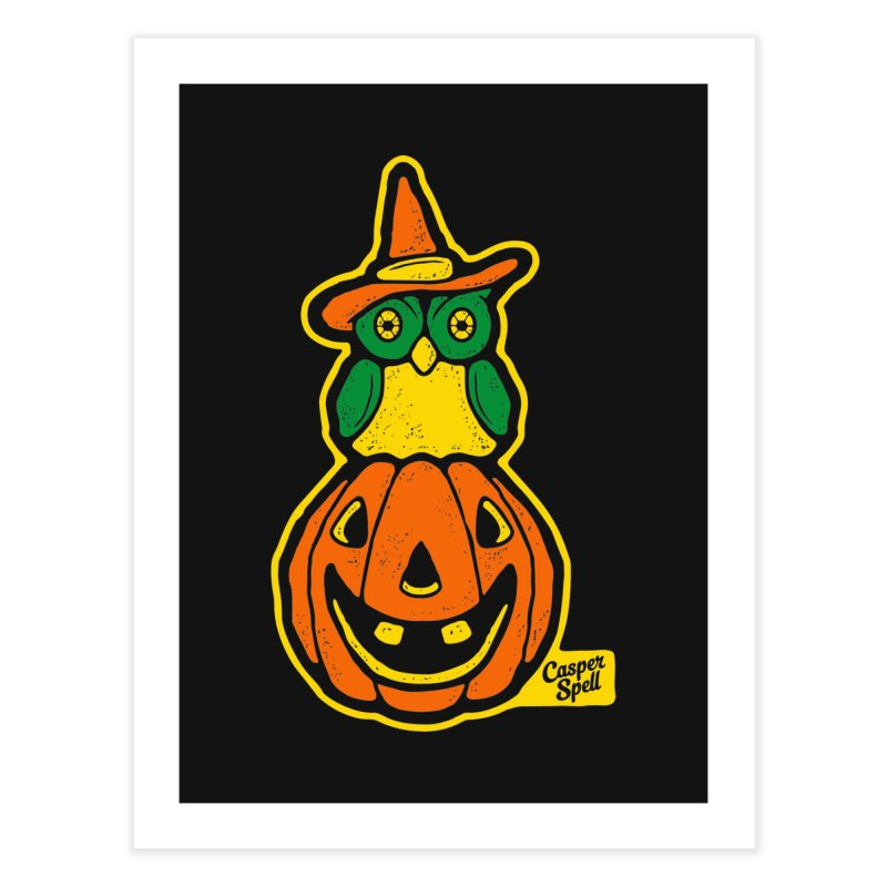 Witch Owl and Jack-O-Lantern Home Fine Art Print by Casper Spell's Shop