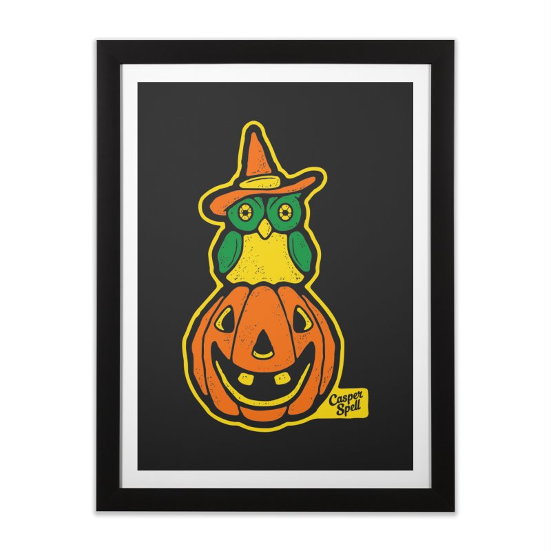 Witch Owl and Jack-O-Lantern Home Framed Fine Art Print by Casper Spell's Shop