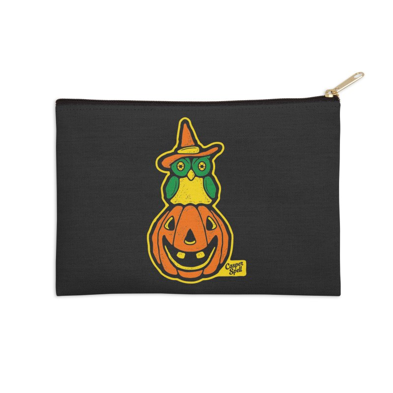 Witch Owl and Jack-O-Lantern Accessories Zip Pouch by Casper Spell's Shop