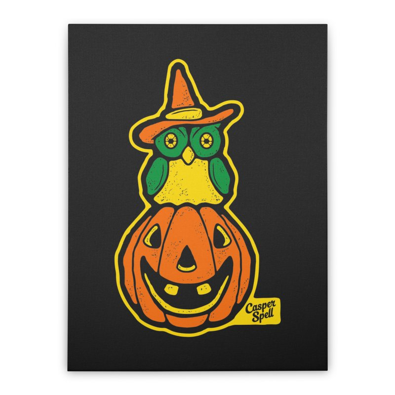 Witch Owl and Jack-O-Lantern Home Stretched Canvas by Casper Spell's Shop