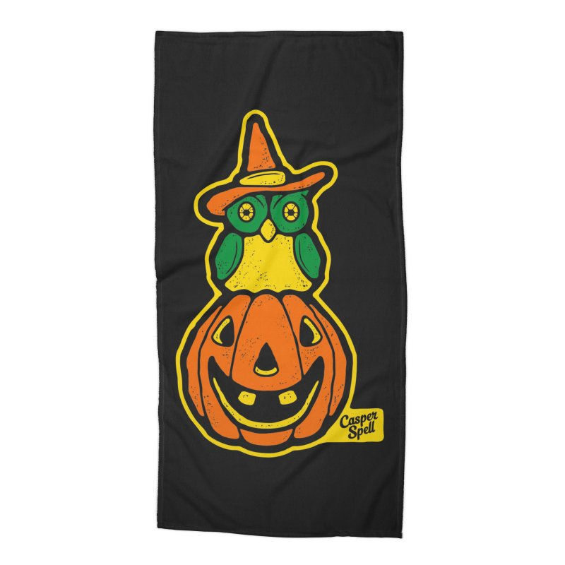 Witch Owl and Jack-O-Lantern Accessories Beach Towel by Casper Spell's Shop