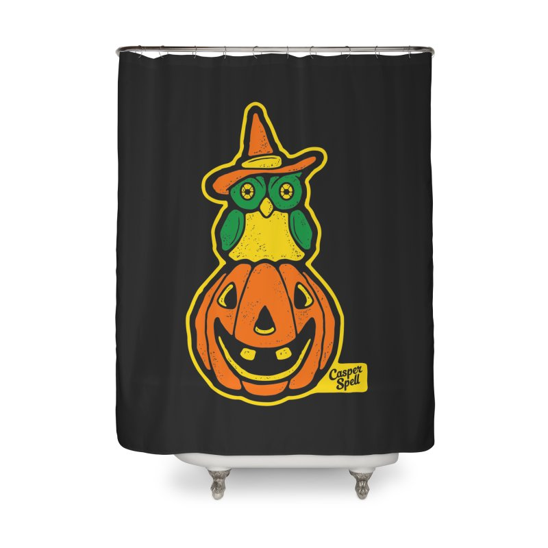 Witch Owl and Jack-O-Lantern Home Shower Curtain by Casper Spell's Shop