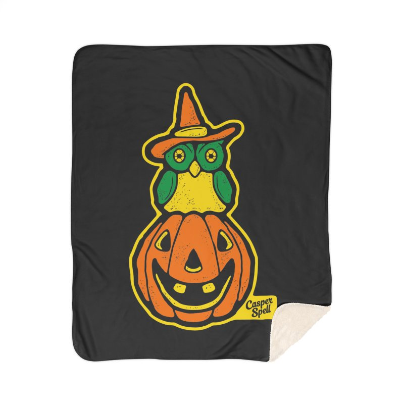 Witch Owl and Jack-O-Lantern Home Sherpa Blanket Blanket by Casper Spell's Shop