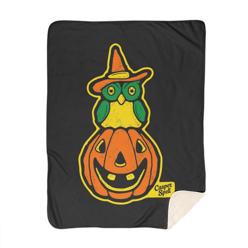 Witch Owl and Jack-O-Lantern Home Blanket by Casper Spell's Shop