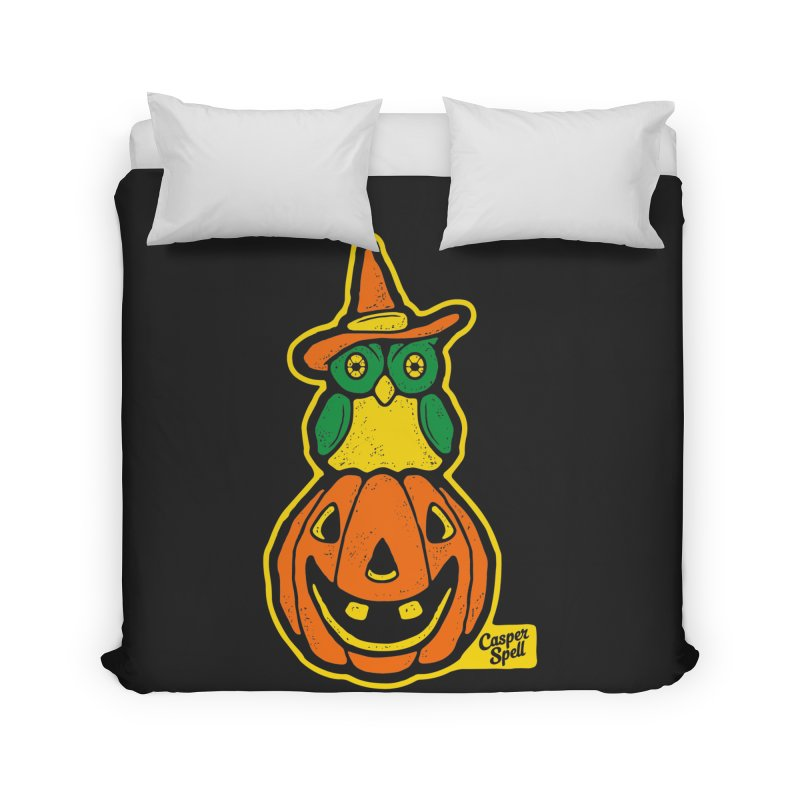 Witch Owl and Jack-O-Lantern Home Duvet by Casper Spell's Shop