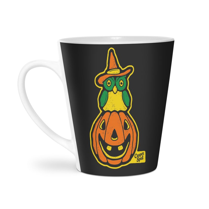 Witch Owl and Jack-O-Lantern Accessories Latte Mug by Casper Spell's Shop