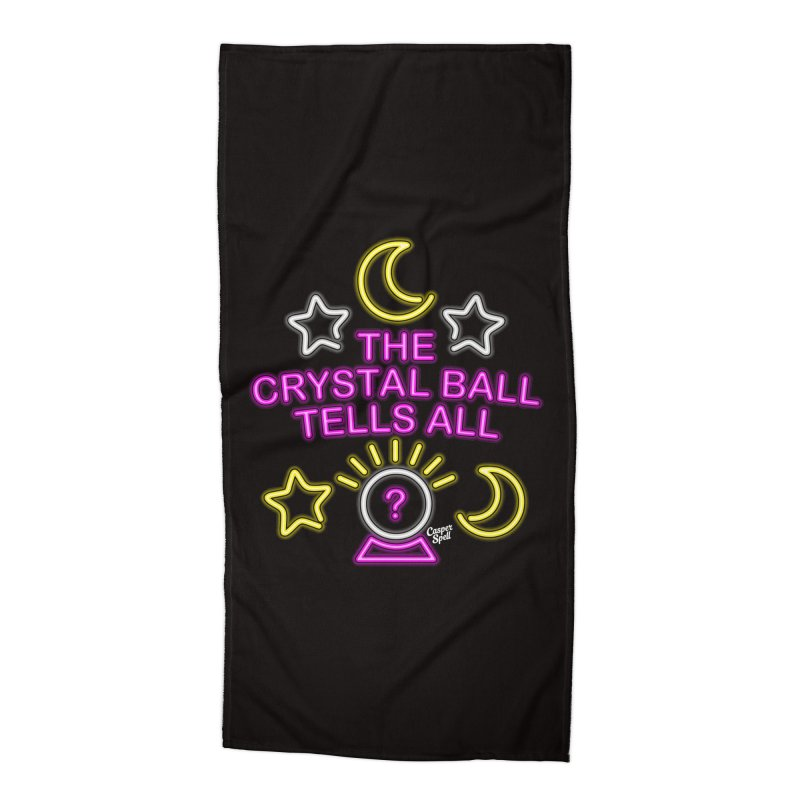 Neon Psychic Crystal Ball Tells All Accessories Beach Towel by Casper Spell's Shop
